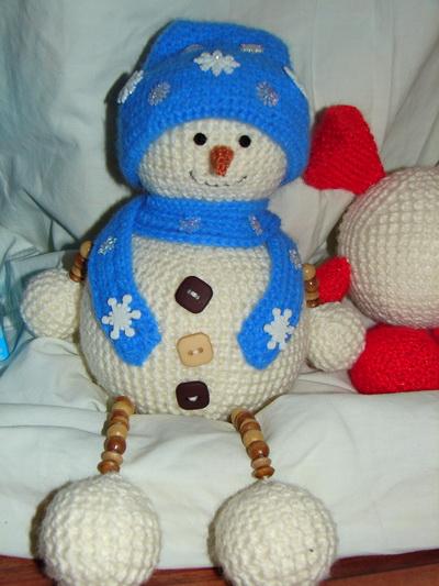 снеговик крючком, снеговик