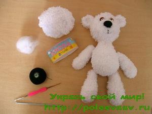 мишка крючком, как связать мишку крючком, вязаный мишка крючком, вязаный мишка