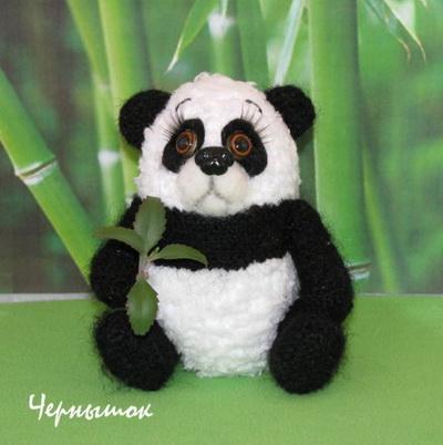 мишка панда крючком описание