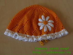 шапочка с ромашкой, летняя шапочка для девочки крючком схемы