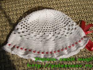 шапочка летняя на девочку схема описание вязания крючком