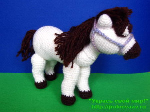 лошадка к новому году, лошадь крючком, лошадь крючком схема