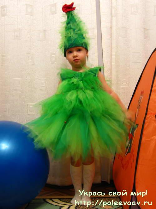 костюм елочки своими руками, костюм елочки, платье из фатина, платье пачка