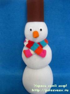 снеговик своими руками, снеговик поделка, поделка снеговик своими руками, снеговик из носка, снеговик из колготок,