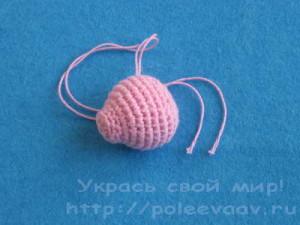 вязаный поросенок крючком, вязаная свинья, как связать поросенка крючком,