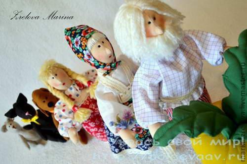 кукольный театр своими руками, герои сказок своими руками, сказка репка своими руками
