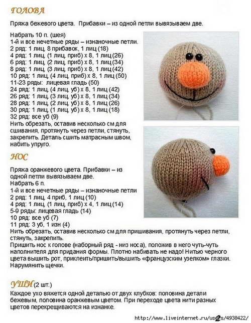 Описание вязания зайца спицами 95