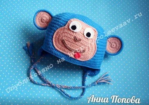 шапка обезьянка крючком