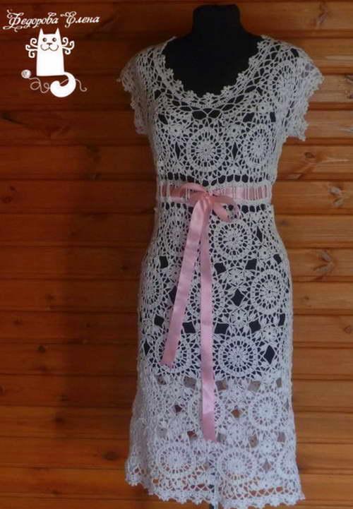 вязаное платье крючком схема и описание укрась свой мир