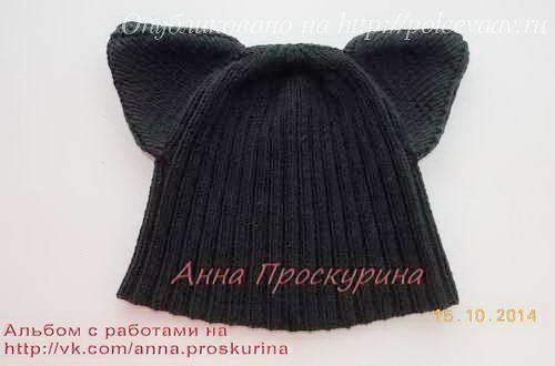 вязаная женская шапка спицами кошка описание укрась свой мир