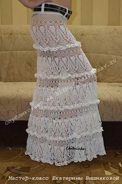 Длинная вязанная крючком юбка