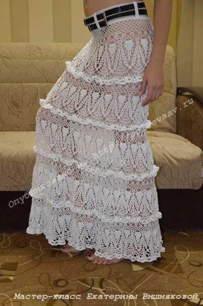 Длинная ажурная юбка крючком