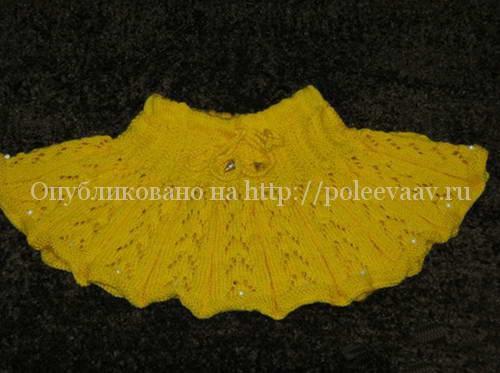 Желтая юбка для девочки спицами